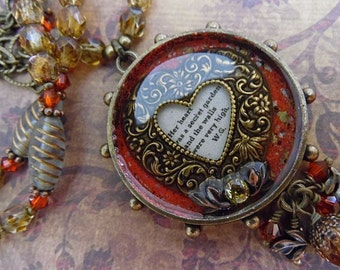 Princess Bride Necklace Book Quote Mixed Media Resin Pendant with Czech Glass and Antiqued Brass