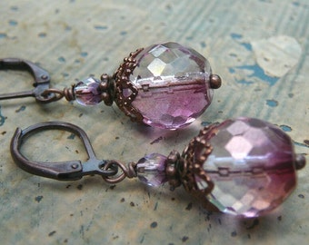 Vintage Style Earrings with Plum Splashed Czech Glass and Antique Copper