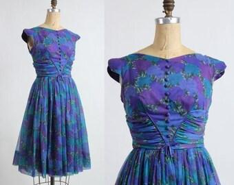 SALE- 1960s Purple Dress FLORAL