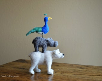 Needle Felted Animal Stack - Polar Bear - Hippo - Peacock