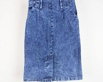 Vintage Blue Acid Wash Denim Skirt Juniors 9 S 1980s