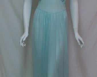 Vintage Vanity Fair nightgown  Sheer blue nightgown  Size 42 nightgown  1950s 50s Vanity Fair nightgown  Large size Long blue nightgown