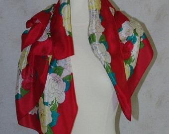 Oscar de la Renta designer scarf Vintage silk scarf Lipstick red silk scarf Pastel roses border