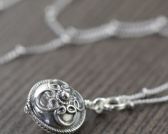 Valentine's Day gift Boho necklace Bali style necklace rounded disc pendant sterling silver pendant by Katy Mims gifts for her