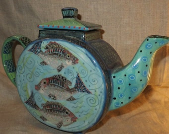 Teapot , Lovely Shape, Pretty Fish, Hand Painted Ceramic