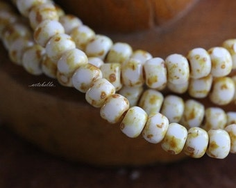 WHITE SAND SEEDS .. 50 Picasso Czech Glass Tri-Cut Seed Bead Size 6/0 (5352-st)