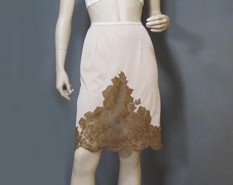 Vintage Half Slip Latte Brown Nylon Sheer Lace Silky Saramae S