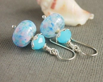 Blue Earrings, Artisan Lampwork, Beaded Earrings, Aqua, Pink, Sterling Silver - LUPIN