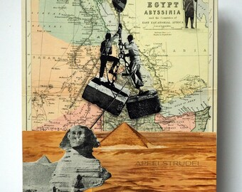 Giza Egypt Pyramids Artwork, 1888 Egypt Map Paper Collage, How They Built the Pyramids Collage, Gift for Her or Him, Vintage Shabby Chic