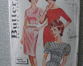 """1960s Dress - 34"""" Bust - Butterick 2171 - Vintage Retro Sewing Pattern"""