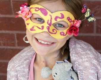 Rosa - Petite Children's Masquerade Mask in Pink and Yellow - Child Artist