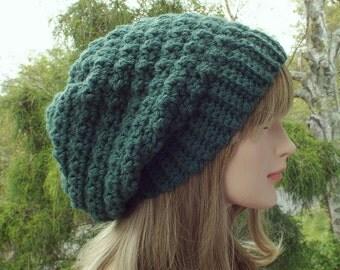 Pine Green Crochet Hat, Womens Slouchy Beanie, Slouchy Hat, Oversized Slouch Beanie, Chunky Hat, Winter Hat, Slouch Hat