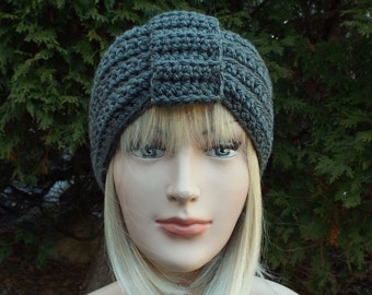 Slate Gray Turban Headband, Womens Ear Warmer, Crochet Headband, Boho Head Wrap, Womens Ski Band, Chunky Earwarmer, Winter Headband