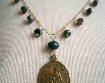 Double sided French medal Saint Joseph of Good Hope and Our Lady of Good Hope green and gold Necklace