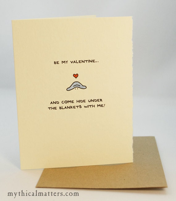 Be My Valentine... And Come Hide Under The Blankets With Me! Greeting Card Cute Adorable Valentine recycled paper made in Canada Toronto