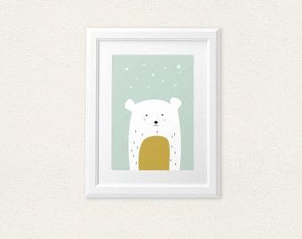 Cool bear with stars -  playroom nursery babyshower home decor - 8x10 on A4