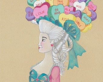 Kawaii Valentine's Day Candy Art French Love Conversation Hearts Art Marie Antoinette 5x7 Watercolor Painting