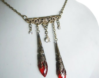 Vampire blood drop necklace Antiqued Brass colored filigree necklace with red glass beads steampunk aristocrat bride or time traveler