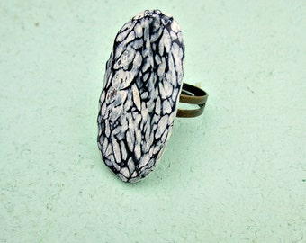 Black and Cream Carved Clay Adjustable Tablet Ring: Mitsi