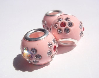 1 Rhinestone Bead, Jewelry Making Supply, European Style, pave Set Rhinestones in Pink Resin Base