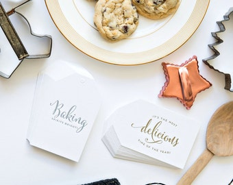 Bakers Holiday Season Boxed Letterpress Gift Tag in silver and gold