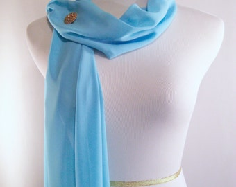 Bridal Scarf - Sky Blue Wedding Scarf -  Bridesmaid Scarf - Evening Wrap - Extra Long Sky Blue Silky Chiffon