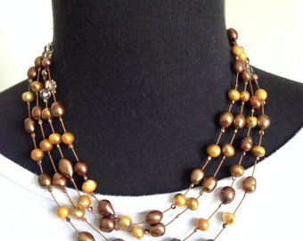 pearl necklace jewelry handmade pearls necklace multi strand fresh water pearls brown golden pearls beads, OOAK
