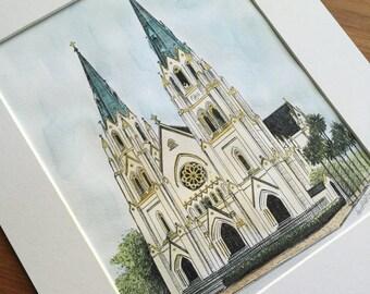 The Cathedral of St. John the Baptist Savannah Watercolor Art Print Drawing