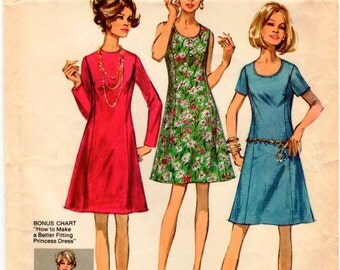 Vintage 1970 Simplicity Pattern 8889 - Misses Basic Princess Dress with Two Necklines in Half-Size - Size 14.5