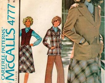 Vintage UNCUT McCall's Carefree Pattern 4777 - Misses Jacket, Vest, Blouse, Skirt & Pants - Size 14