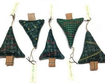 CLEARANCE Mini Tree Ornaments: Set of 5 | Christmas Tree Ornaments | Five Gift Toppers | Sewn Evergreen Decoration | Holiday Home Decor