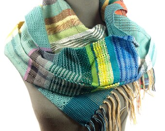 Anita | Modern Luxury Weaving | Stylish Heirloom Gifts | Handwoven Mint, Peach & Lemon Scarf | Loomed Accessories | Pastel and Neon Stripes