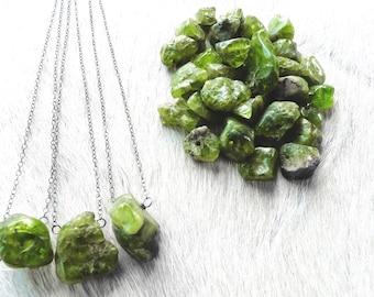 August Birthstone   Peridot necklace   Raw peridot necklace   Green stone necklace