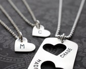 Personalized Father's Day Necklace Set - Father Daughter Gift Set - Two Daughter Design - Personalized Jewelry in Sterling Silver