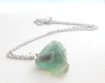 Rainbow Fluorite Pendant, Rough Gemstone Jewelry: Purple & Green