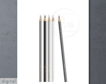 Grey Pencils Drawing Monochrome Printable Black White Grey Modern Wall Decor Architect Graphics Studio Office Minimalist Scandinavian Art