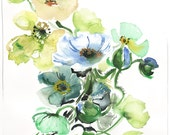 Watercolor flower painting - Cool Tone Poppies by Gretchen Kelly