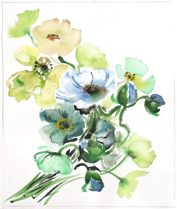 PRINT of Watercolor flower painting - Cool Tone Poppies by Gretchen Kelly
