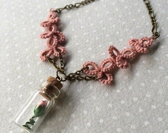 Pink Lace - Handmade Necklace with Tatted Pink Lace and glass bottle with tiny pink ivory rose - One of a Kind