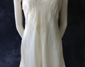 30's 40's cream silk step in teddy