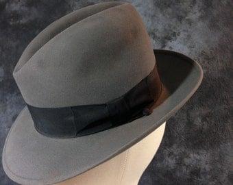 Vintage 40's Grey Stetson Mode Edge 3X Beaver Quality 7 1/8 Homburg Fedora
