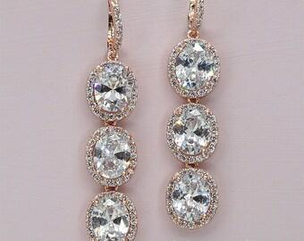 Rose Gold Bridal Earrings Rose Gold Crystal Earrings Cubic Zirconia Wedding Earrings Rose Gold Rhinestone Earrings