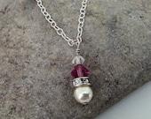 Flower Girl Custom Necklace- Swarovski crystal and pearl Sterling Silver pendant necklace- wedding jewelry, flower girl, birthday