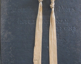 Long Gold Tassel Earrings - Brass and Sterling