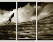 Surfer Large Canvas Art, Photography, Nautical, 3 Panel, Surfboard, Costa Rica,  Surfer, Waves, Sepia, Ocean, Water, Barrel, Coastal, Sea
