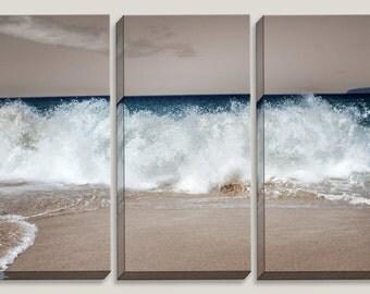 Waves Crashing, Tan and Turquoise, Ocean, Big Beach Maui Hawaii, Photography, Coastal, Nautical, Canvas Art, Coastline, Triptych