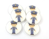 """6 Policeman Buttons. Police Buttons.  Police Officer. Sewing Buttons.  Novelty Buttons.  Decorative Buttons. 3/4"""" or 20 mm Round."""