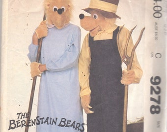 McCalls 9278 1980s Mens Womens  Mama Papa BERENSTAIN Bears Pattern Adult Farmer COSTUME Vintage Sewing Pattern Size Lg Bust Chest 40 42