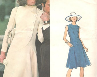 Vogue 1065 1970s FABIANI Misses Couturier DRESS Pattern Asymmetrical  Shaped Hip Womens Vintage  Sewing Pattern Size 12 Bust 34 UNCUT