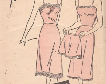 Advance 3485 1940s Misses Lace Trim Lingerie Slip and Panties Pattern Womens Vintage Sewing Pattern Size 18 Bust 36